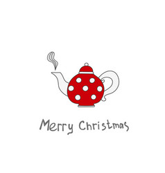 christmas teapot hand drawn elements for your vector image