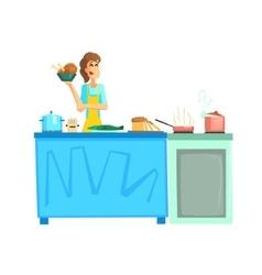 Cooking contest female participant vector