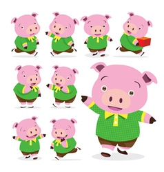 cute pig boy collection set vector image