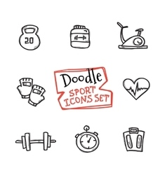 doodle style line icons sports set Cute vector image vector image