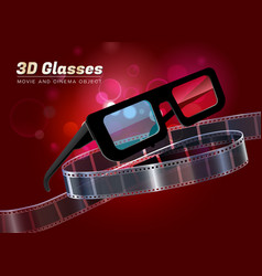 3d glasses movie cinema object vector