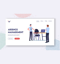 Absence management landing page template sick vector