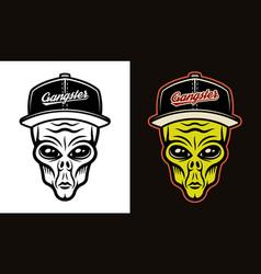 alien head in baseball cap two styles black vector image