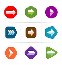 Arrow icons set Flat color with rounded corner vector