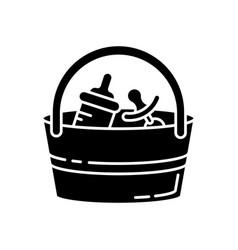 Babysitter set black glyph icon baby pacifier vector