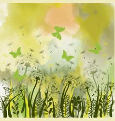 Background with green grass wild herbsdandelions vector