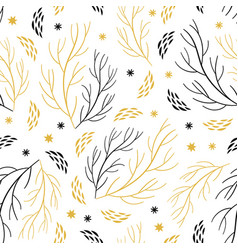 Beautiful seamless pattern with branches and snowf vector