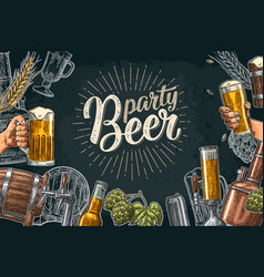 beer set with tap class can bottle and tanks vector image