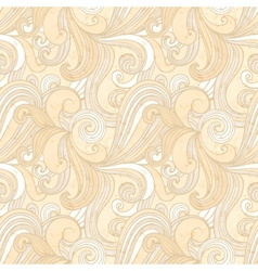 Beige hand-drawn pattern waves background vector image