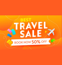 best travel sale advertising banner with airplane vector image