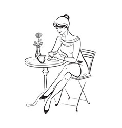 Black and white beautiful young woman in a cafe vector