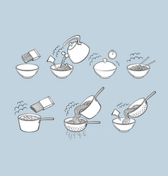 Black and white noodle pasta cooking instructions vector