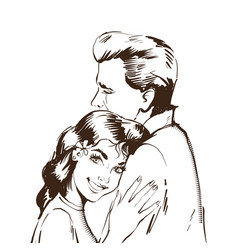 black and white sketch lovers man and woman in vector image