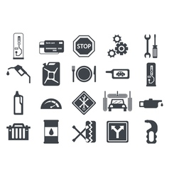 Black car service flat icons Vehicle maintenance vector