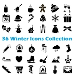 black winter icon collection vector image