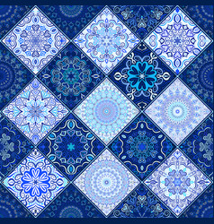 Blue tile background mandala pattern vector