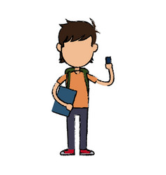 boy cartoon student character holding book and vector image