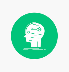 Brain hack hacking key mind white glyph icon in vector