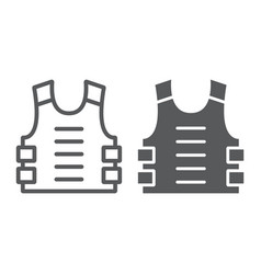 Bulletproof vest line and glyph icon defense and vector