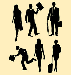 business people activity silhouette vector image
