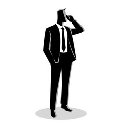 businessman in formal suit standing while on phone vector image