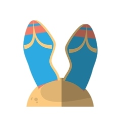 Cartoon blue flip flop sand beach vector