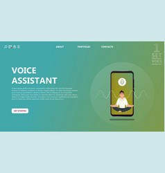 character voice assistant listens to user commands vector image