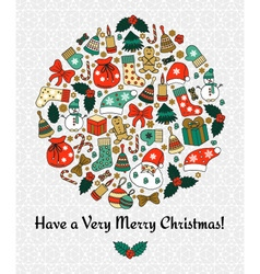 Christmas round greeting card vector
