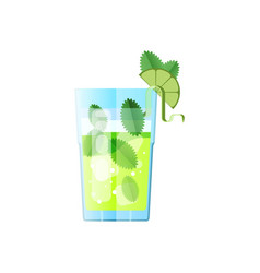 Cocktail mojito in flat style with long sadow for vector