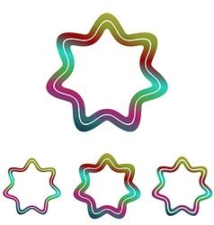 Color line star logo design set vector