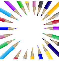 Color pencils in round shape with copyspace for vector