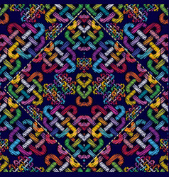 colorful embroidery geometric modern seamless vector image