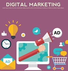Concepts for digital marketing advertising social vector image