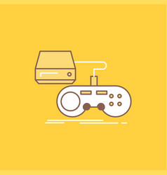 Console game gaming playstation play flat line vector