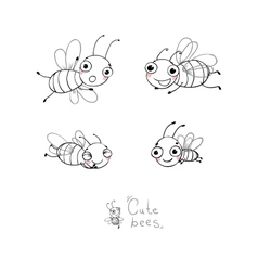 Cute cartoon bees vector image