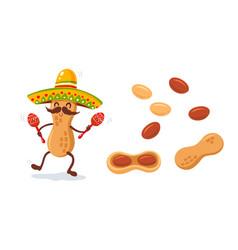 Cute cartoons peanut snack vector