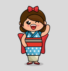 Cute japanese doll kawaii style vector