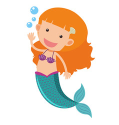 Cute mermaid waving hand vector