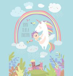 cute unicorn with watermelon vector image