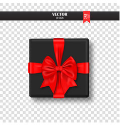 decorative gift box with red bow and ribbon vector image