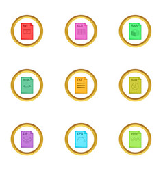 document format icons set cartoon style vector image
