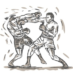 Drawing of two boxers punching vector