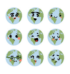 earth emotions cartoon planet with funny faces vector image