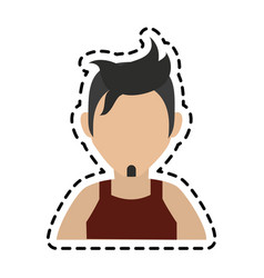 Faceless man with dark hair icon image vector