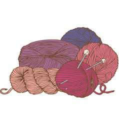 five hanks of yarn and needles vector image