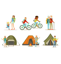flat set of happy traveling people active vector image