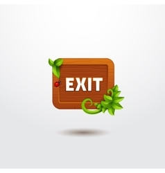 Game interface button exit on wooden template vector image