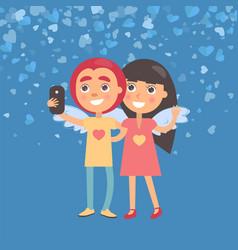 Girlfriend and boyfriend making selfie vector