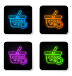 glowing neon refresh shopping basket icon vector image