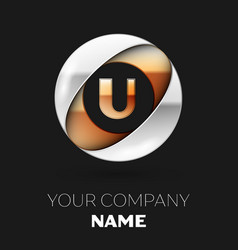 golden letter u logo symbol in the circle shape vector image